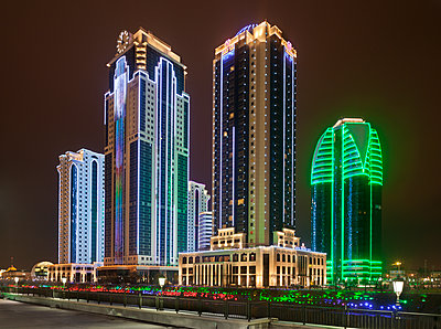High rises of Grozny city complex at night  - p390m1092818 by Frank Herfort