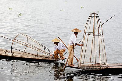 Leg rower fishermen on Inle Lake; Myanmar - p442m936533 by Chris Caldicott