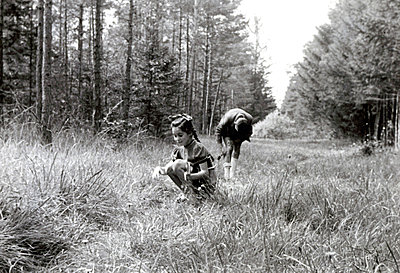 Children playing in the woods - p1541m2116894 by Ruth Botzenhardt