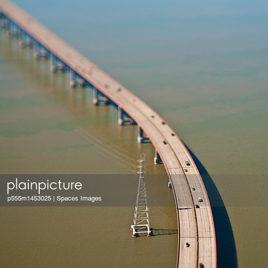 Elevated Highway over Water - p555m1453025 by Spaces Images