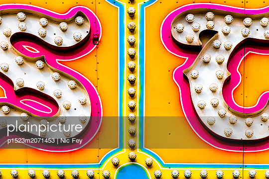Funfair, Neon sign - p1523m2071453 by Nic Fey