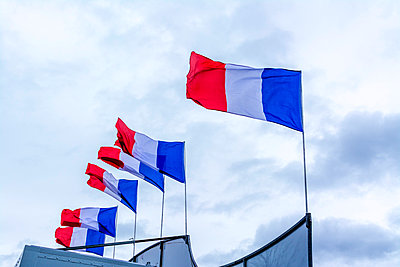French flags on the roof of a circus - p813m1120006 by B.Jaubert