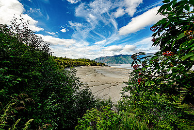 View over beach onto mountain range, Alaska - p1455m2204528 by Ingmar Wein