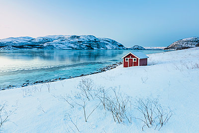 Coastal landscape with red hut in winter, Lebesby, Lakse Fjord, rway - p300m2199063 by Valentin Weinhäupl