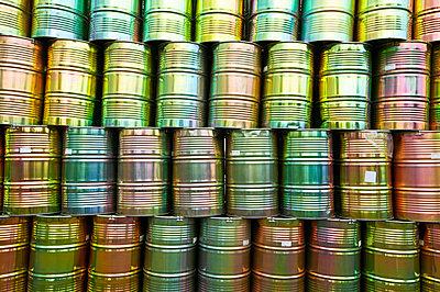 Metal barrels piled up - p300m879478 by Tom Hoenig