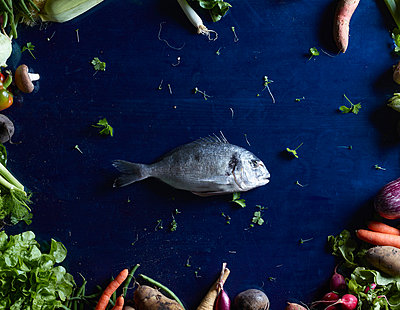 Directly above shot of fish amidst vegetables on blue table - p301m976177f by Larry Washburn