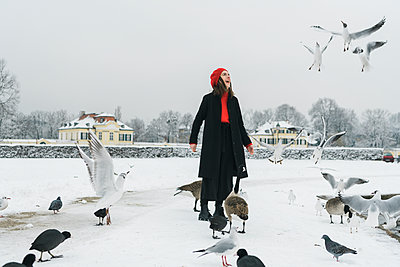Junge Frau am gefrorenen See füttert die Möwen - p1437m1584895 von Achim Bunz
