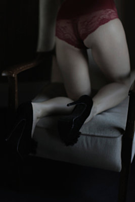 Woman on chair - p1098m924048 by Studio MPM
