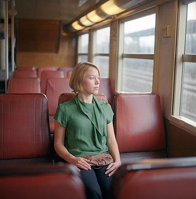 A woman in the Paris metro - p1610m2231173 by myriam tirler