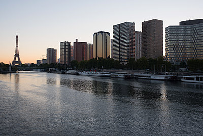 High rise buildings along the Seine River, Paris, France - p623m1221174 by Jerome Gorin
