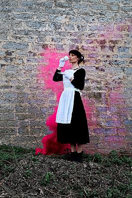Waitress drinking tea - p1521m2193357 by Charlotte Zobel