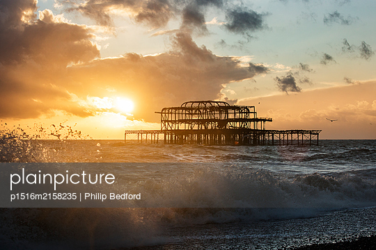 Great Britain, Brighton, Steel frame of the West Pier - p1516m2158235 by Philip Bedford