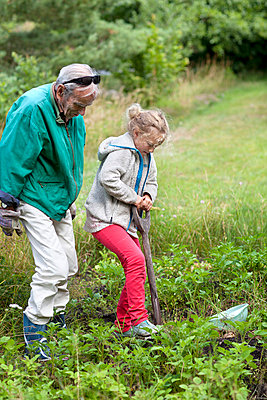 Grandfather and granddaughter working in garden - p312m799992 by Ulf Huett Nilsson