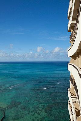 View from Waikiki Beach, Hawaii - p495m1034287 by Jeanene Scott