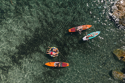 Sunbathing on the surfboard - p1437m2283280 by Achim Bunz