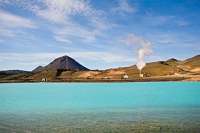 Geothermal power station, Krafla, Iceland - p624m711002f by James Hardy