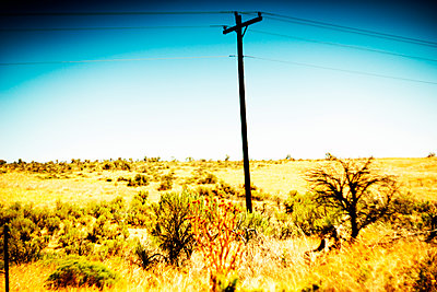 Utility Pole in Arid Landscape  - p694m2218853 by Justin Hill photography
