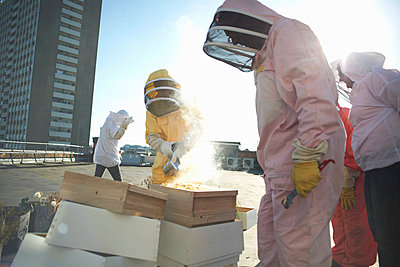 Male and female beekeepers using bee smoker on city rooftop - p429m1224480 by Peter Muller