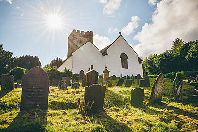 Welsh Church with gravestones in foreground  - p1072m2172276 by Neville Mountford-Hoare