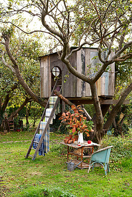 Wooden treehouse with ladder and blankets in Isle of Wight garden;  UK - p349m920018 by Rachel Whiting