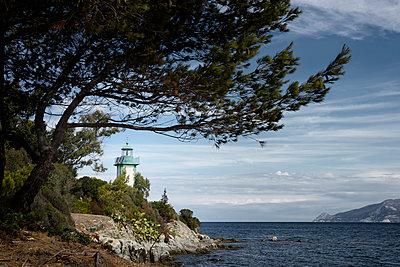 Leuchtturm / Phare de Fornali in der Bucht von Saint Florent auf der Mittelmeerinsel Korsika - p1162m1496531 von Ralf Wilken
