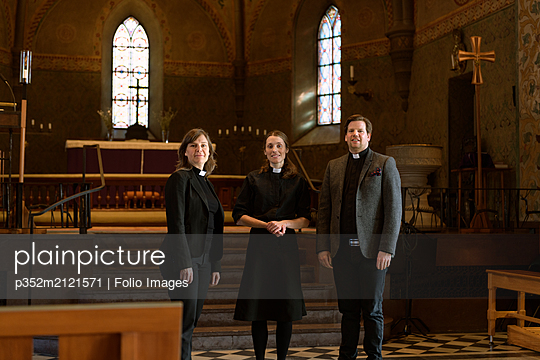 Portrait of priests in church - p352m2121571 by Folio Images