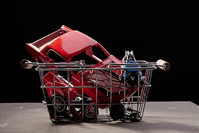 Shopping basket of car parts - p301m730929f by Larry Washburn