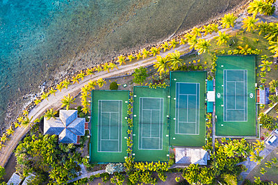 Tennis courts and palm trees in the luxury Curtain Bluff resort viewed from above, Old Road, Antigua, Leeward Islands, West Indies, Caribbean - p871m2143284 by Roberto Moiola