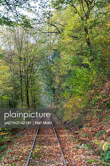 Schienen im Wald - p427m2142191 von Ralf Mohr