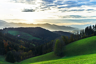 Black Forest with a view of a farmhouse and the valley - p1312m2161007 by Axel Killian