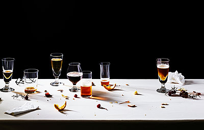 After the party, stale beer and leftovers - p1397m2184338 by David Prince