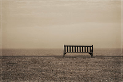 Wooden bench looking out to sea - p1228m1466247 by Benjamin Harte