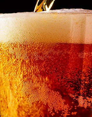 Pouring beer into glass, close-up - p1397m2184339 by David Prince