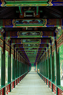 Covered walkway at the Summer Palace, Beijing, China - p4424664f by Design Pics