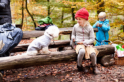 Girl with dog sitting on picnic table - p426m920235f by Astrakan