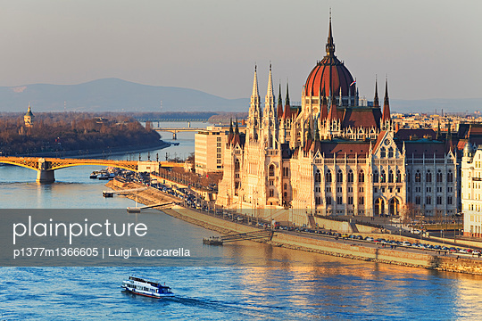 View from Buda Castle over the Danube river, Chain Bridge (Szechenyl Lanchid) and Parliament - p1377m1366605 by Luigi Vaccarella