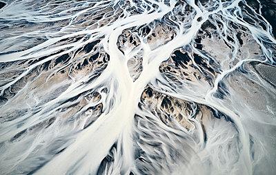 Fantastic ice landscape of river delta in winter - p1166m2157335 by Cavan Images
