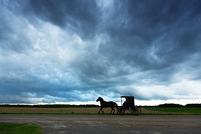 Silhouette horse cart on dirt road by field against cloudy sky - p1166m1414760 by Cavan Images