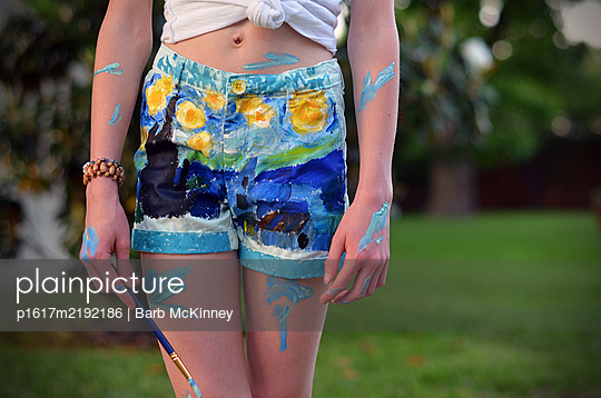 Artist Girl in Painted Starry Night Shorts - p1617m2192186 by Barb McKinney