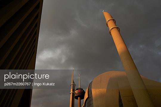 Mosque, minaret and dark clouds - p267m2260767 by Ingo Kukatz