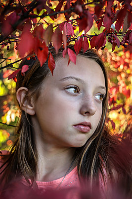Teenage Girl among Trees - p1019m1487230 by Stephen Carroll