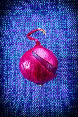 Onion on tablecloth - p1149m1525712 by Yvonne Röder