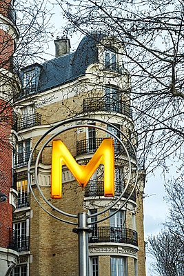 Illuminated Sign of a subway station in Paris - p1312m2164032 by Axel Killian