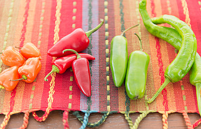Colorful chili peppers - p555m1479076 by JGI/Jamie Grill