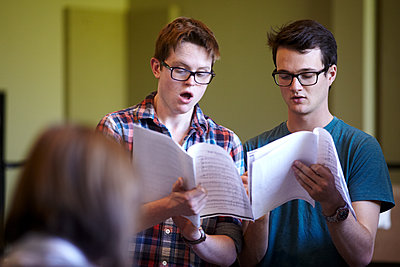 Two teenage boys as choristers - p1260m1111318 by Ted Catanzaro