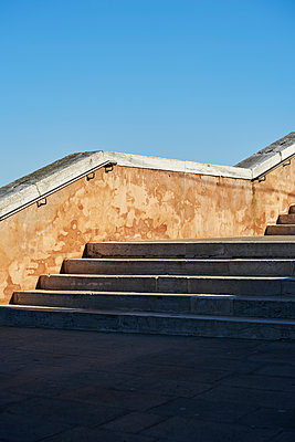 Stairs under blue sky - p1312m2082212 by Axel Killian