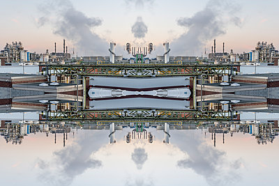 Abstract kaleidoscope of a chemical industrial plant - p401m2228390 by Frank Baquet