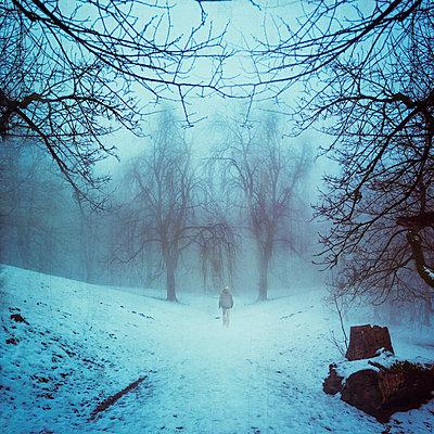 Germany, near Wuppertal, Man walking in park in winter - p300m2219273 by Dirk Wüstenhagen