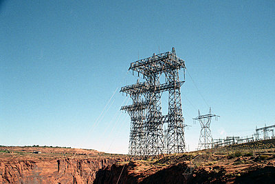 Power pole at Lake Powell - p1105m1051063 by Virginie Plauchut