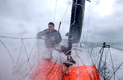 Onboard the IMOCA Racing Hugo Boss during a training session before the Vendee Globe in the English Channel. - p1424m1501991 by Christophe Launay